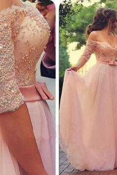 Half Long Sleeve Prom Dress, Pink Prom Dresses,Prom Dresses 2016,Off Shoulder Wedding Party Dress,Pink Prom Gown