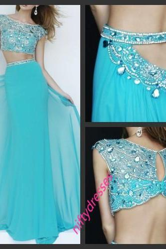 Two Piece Prom Dress,Backless Chiffon Straight Beaded Women Dresses,Sleeveless Party Dreses,Blue Prom Gown,Sexy Evening Dress,Prom Dresses 2016
