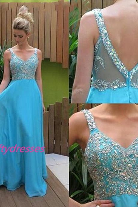 Light Blue Chiffon Prom Dresses,Long Prom Dresses,Backless Prom Dresses,Appliques Beaded Prom Gown,Party Formal Dresses
