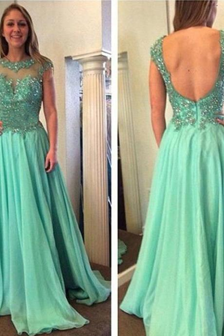 Sexy Chiffon Prom Dresses,Backless Prom Dresses,Long Prom Gown,A Line Sheer Neck Beaded Evening Formal Gowns