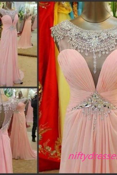 Cap Sleeve Prom Dresses,Crystal Beaded Pink Prom Dress,Chiffon Long Prom Dresses with Rhinestones,Open Back Evening Gowns