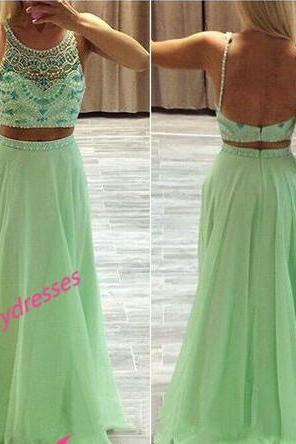 2 Piece Chiffon Prom Dresses Evening Gown With Beadings Bodice Backless Gowns Open Back Formal Dress For Teens