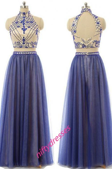 Custom Made Two-Pieces Prom Dress,Charming Prom Dress,High-Neck Prom Dress,A-Line Prom Dress,Beading Evening Dress