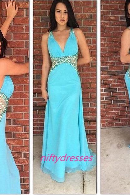 Beading Prom Dress,Charming Prom Gowns,A-Line Prom Dress,Sexy Backless Prom Gows,Long Graduation Dress,Elegant Prom Dress,