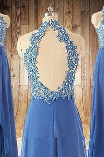 Backless Halter Lace Appliques Prom Dress,Chiffon A line Prom Gowns,Long Formal Evening Dress,Graduation Dress,Long Prom Dress