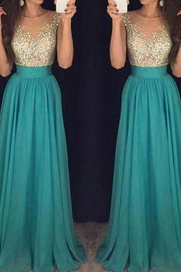 LJ28 New Arrival Blue Prom Dress,Chiffon Prom Dress,Beading Prom Dresses,Evening Formal Dress,Women Dress