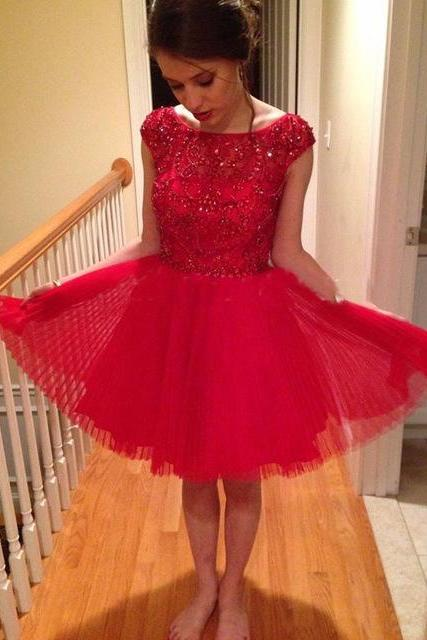 Short Homecoming Dress,Tulle Homecoming Dresses,Red Beaded Prom Dress,Prom Gown