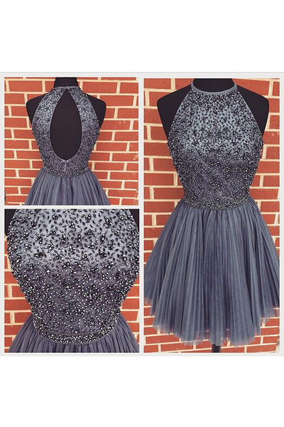 Grey Tulle Homecoming Dress,Beading Prom Dress,Short Homecoming Dress,Short Prom Dress