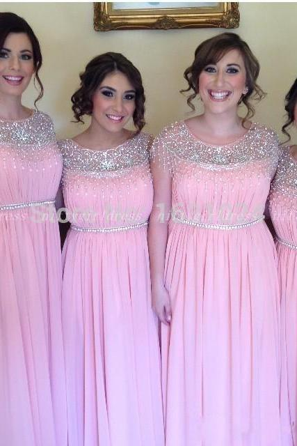 Chiffon Bridesmaid Dress,Pink Bridesmaid Dress