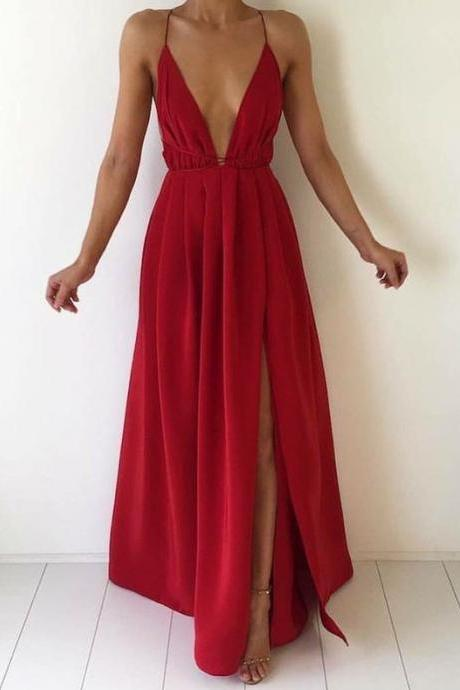 New Arrival Red Chiffon Prom Dress,Sexy Backless Prom Dress,Long Prom Dresses