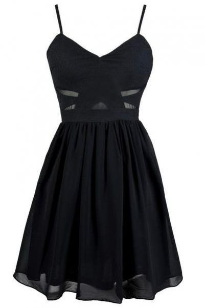 Black Spaghetti Straps Skater Dress with Sheer and Cutout Detailing - Homecoming, Party, Formal Dress