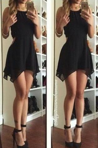 Black Prom Dress,Sexy Party Dress,Homecoming Dresses,Short Prom Dress,Chiffon Prom Gown