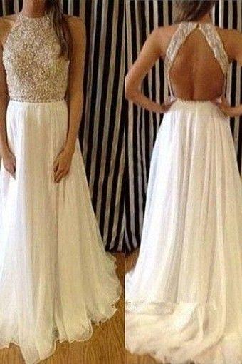 Chiffon Prom Dress,Sexy Prom Dresses,Ivory Prom Dress,Evening Dress,Formal Gown
