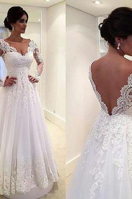 Lace Appliques Plunge V Long Mesh Sleeves Floor Length Tulle A-Line Wedding Dress Featuring Plunge V Back and Train