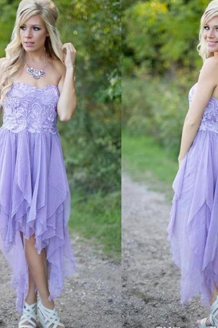 New Arrival Off-Shoulder Lavender Lace Homecoming Dress Short Elegant Chiffon High Low Prom Dresses