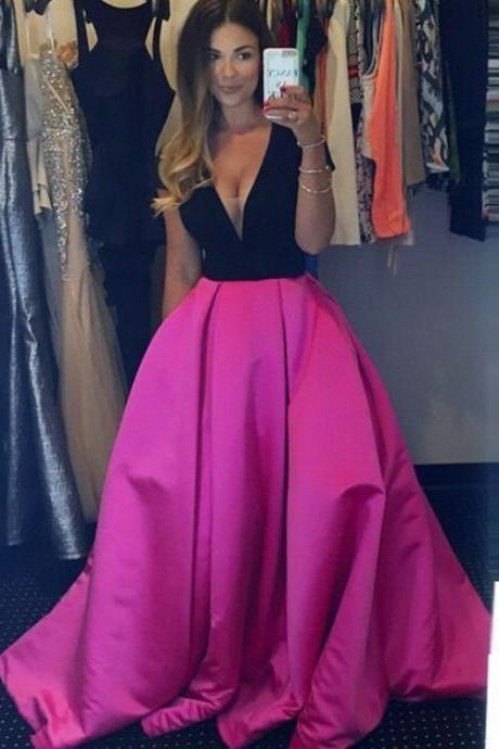 New Arrival Long Evening Dresses A Line Deep V Neck Prom Dress Sexy Evening Gown