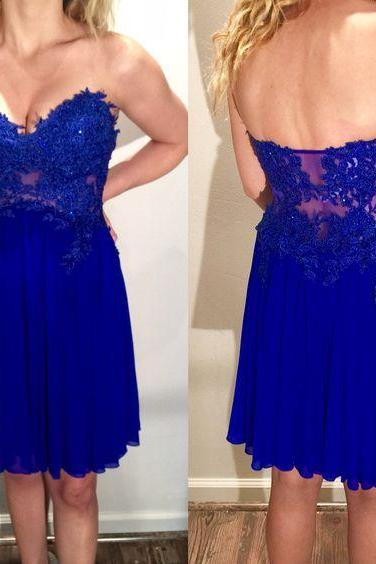 Prom Dress,Sweetheart Party Dress,Knee Length Prom Dress,Short Lace Prom Gown