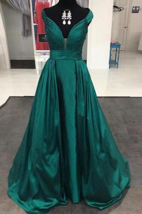 Elegant Emerald Green Prom Dresses Satin Long Formal Evening Gowns 2016 Prom Dresses