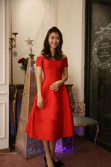 Off the Shoulder Short Sleeve Scalloped Prom Dress,Sexy Red Taffeta Tea-Length Evening Gowns