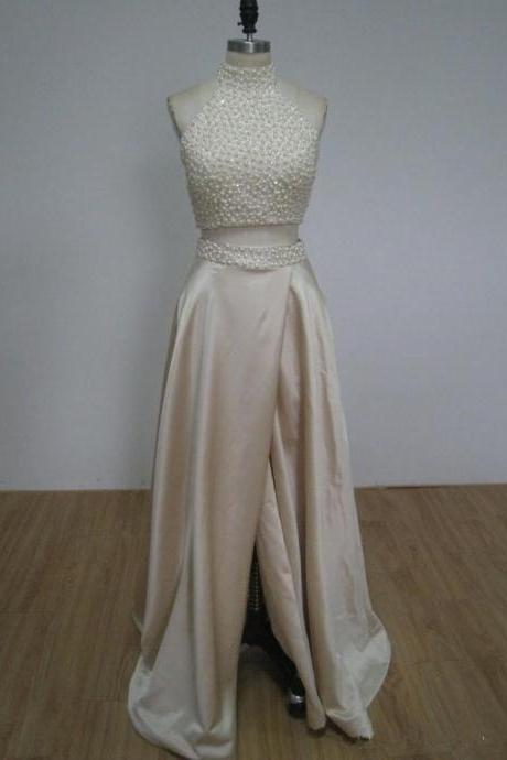 Charming Prom Dress,Two Piece Prom Dress,Beaded Prom Dress,Long Evening Dress