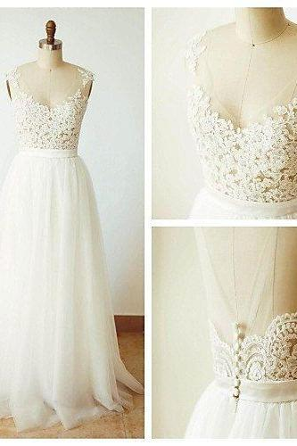 Lace A Line Prom Dresses White Tulle Evening Party Dress