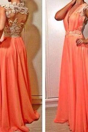 Charming A Line Prom Dresses,Orange Prom Dress,Long Evening Dress,Formal Dress