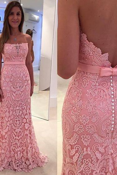 New Arrival Lace Prom Dress,Elegant Prom Dress,Backless Prom Dress,Formal Evening Dress