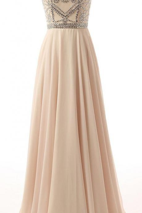 Crystal Beading Prom Dress,Long Prom Dress,Floor Length Prom Dress,Formal Evening Dress,Evening Gown