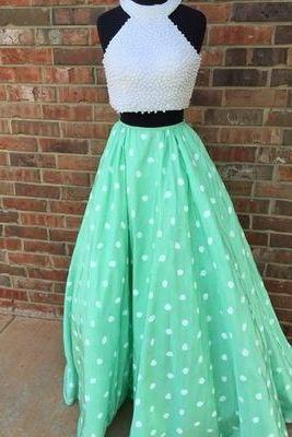 Charming Prom Dress,Two Piece Prom Dress,Long Prom Dress,Pearls Prom Dresses,Sweet 16 Dress
