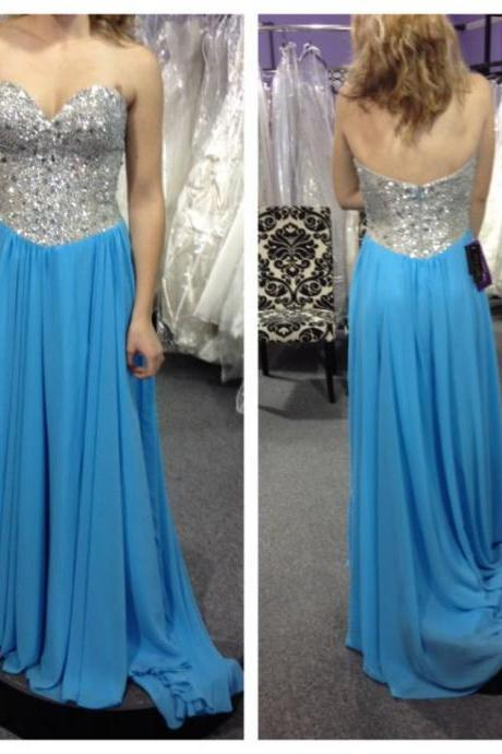 Backless Prom Dress,Long Prom Dress,Blue Prom Dresses,Crystal and Beading Evening Dress,Chiffon Formal Prom Gown