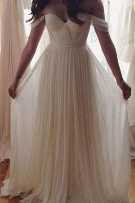 Charming Prom Dress,A Line Chiffon Prom Dress,Long Prom Dresses,Formal Evening Dress,Off Shoulder Evening Gown