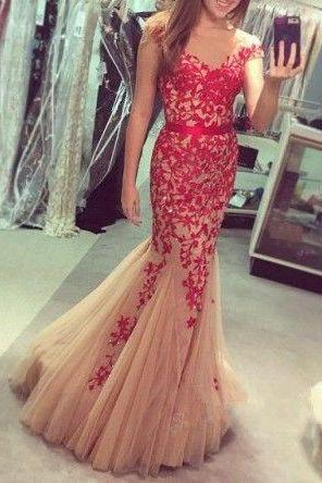 Charming Prom Dress,Mermaid Prom Dress,Long Prom Dresses,Formal Evening Dress,Appliques Evening Gown