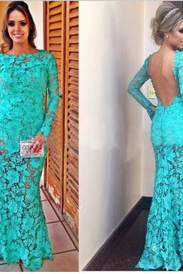 Lace appliques Mermaid Evening Dress Scoop Long Sleeves Evening Gown Backless Party Dresses