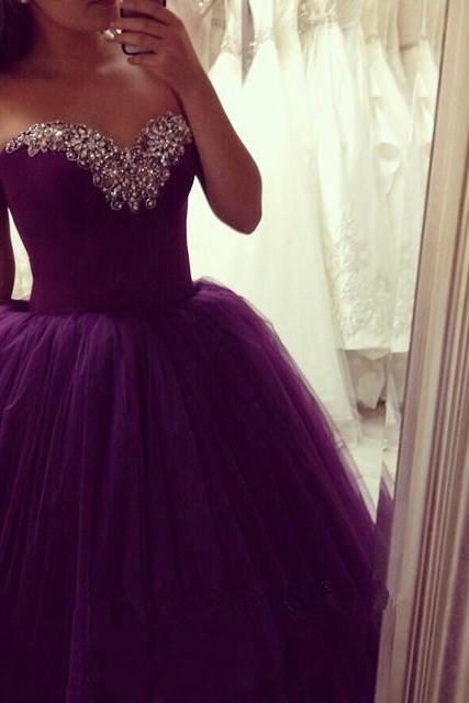 Ball Gown Prom Dresses Sweetheart Sleeveless Lace Up Sweep Train Tulle With Crystal Evening Party Gowns Sexy Formal Dresses