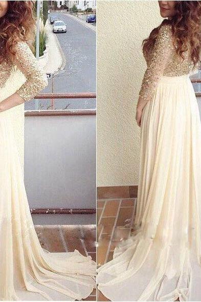 A-line Sequins Prom Dresses,Chiffon Long Sleeves Evening Gowns Formal Dress Long Party Dress
