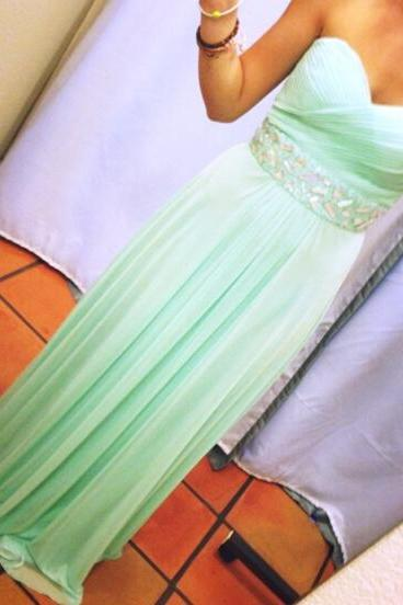 Prom Gown,Chiffon Prom Dress,Long Evening Dress,Sweetheart Backless Bridesmaid Dress