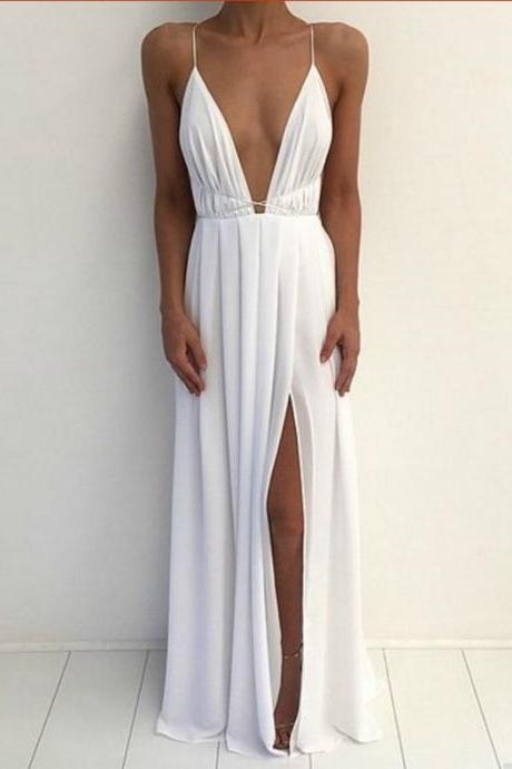 Charming Prom Dress,Sexy Backless Prom Dress,High Slit Evening Dress,Prom Gown
