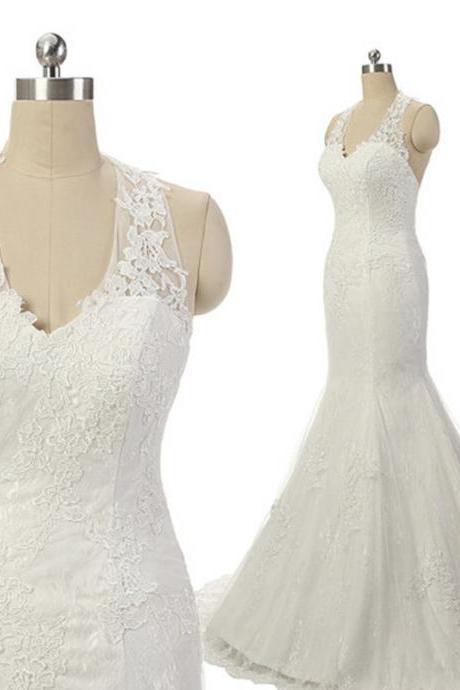 Halter Lace Appliqués Mermaid Wedding Dress