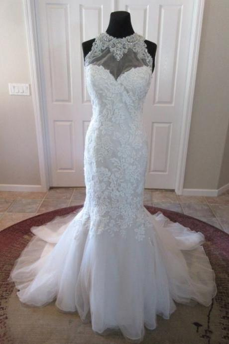 White Tulle Mermaid Wedding Dress,Long Wedding Gown,Bridal Dress