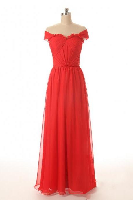 New Arrival Off Shoulder Tulle Red Prom Dress,Floor Length Evening Dress,Formal Dress