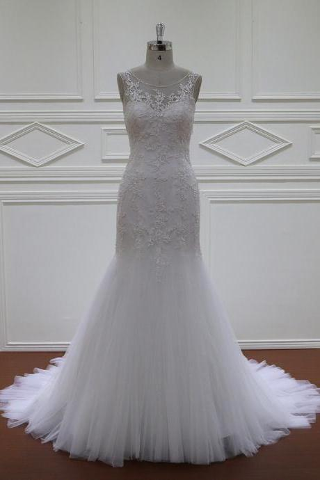 Wedding Gowns,White Mermaid Wedding Dresses,Tulle Wedding Dress Bridal Gown