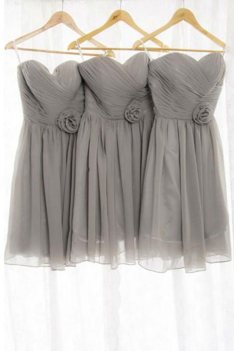 Custom Made Grey Sweetheart Neck Draped Chiffon Short Bridesmaid Dress