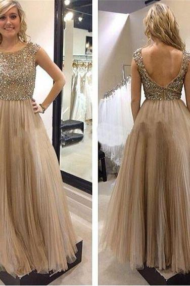 Sexy Backless Prom Dress,Tulle Evening Dresses,Scoop Neck Prom Dress,Long Beaded Prom Dresses,Women Dress,Formal Evening Gown