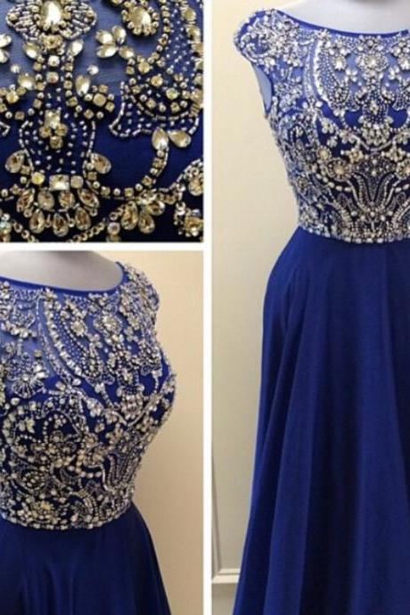 Crystal and Beading Prom Dress,Sexy Prom Dresses,Scoop Neck Evening Dress,Formal Dress,Women Dress