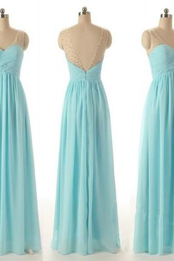 Chiffon Long Prom Dress,Backless Prom Dress,Evening Dress,Formal Dress