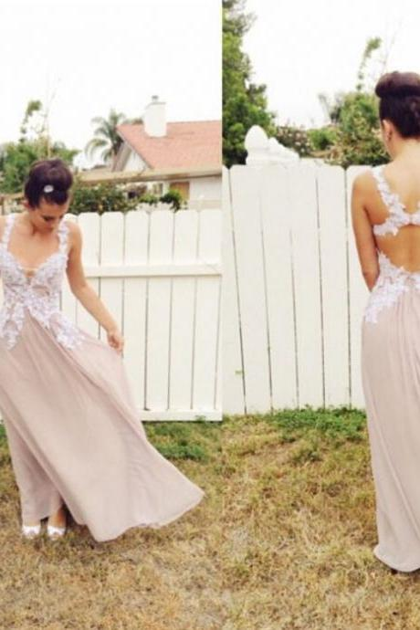 Chiffon Long Prom Dress,Long Evening Dress,Formal Dress,Sexy Backless Prom Dress with Appliques