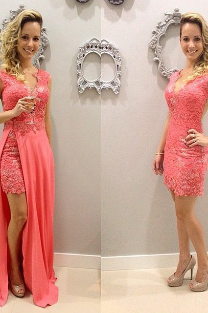 Short Elegant Sleeveless V-neck Lace Chffion Pink Detachable Evening Dresses Sexy Prom Dress