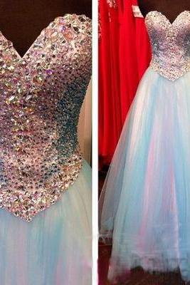 Charming Prom Dress,Sexy Prom Dress,Blue Tulle Prom Dresses,Long Evening Dress,Formal Dress