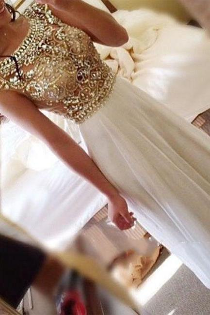 New Arrival Gold Beaded Crystal Prom Dress,Chiffon Prom Dresses,Long Prom Dress,Elegant Floor-Length Evening Dress,Formal Dress