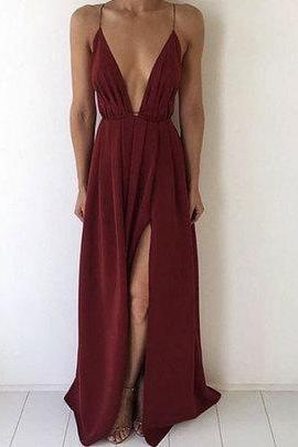 Sexy Long Prom Dress,Deep V Neck Simple Prom Dress,Elegant Floor Length Prom Dress,Open Back Evening Dress